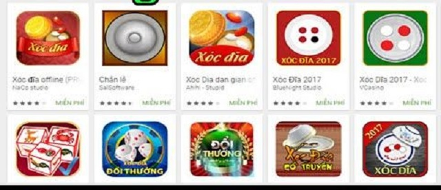 Phiên bản game xóc đĩa trên cửa hàng ứng dụng điện thoại