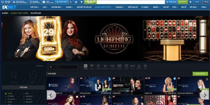 Casino trực tuyến của 1XBet có đa dạng trò chơi hấp dẫn